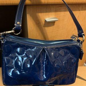 Coach Navy Blue patent leather handbag